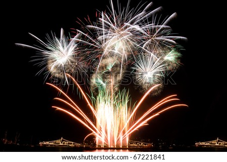Beautiful fireworks in the night sky - stock photo