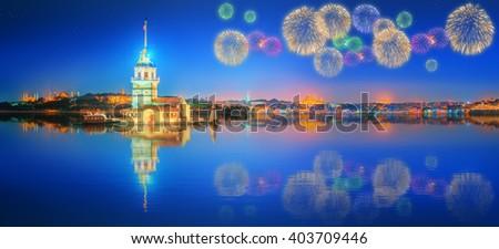 Beautiful fireworks near Maiden Tower Istanbul - stock photo