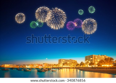 Beautiful fireworks under Ibiza island night view in San Antonio
