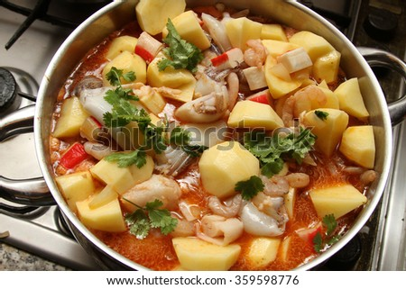 beautiful fish stew - stock photo