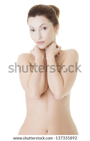 Beautiful fit topless woman, isolated on white