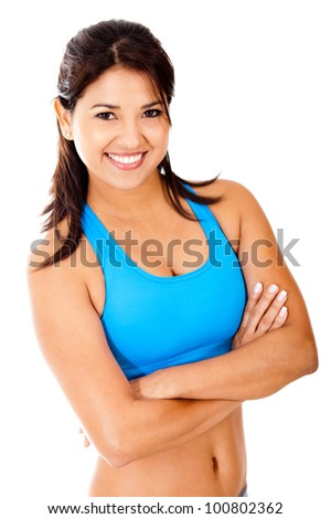Beautiful fit woman smiling - isolated over a white background - stock photo