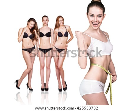 Beautiful fitness model captures the result - stock photo
