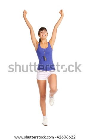 Beautiful fitness trainer shows you exercises, isolated over white - stock photo