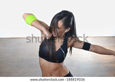 beautiful fitness woman posing, studio shot - stock photo