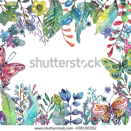 Beautiful floral background with butterfly for holiday design, watercolor illustration - stock photo
