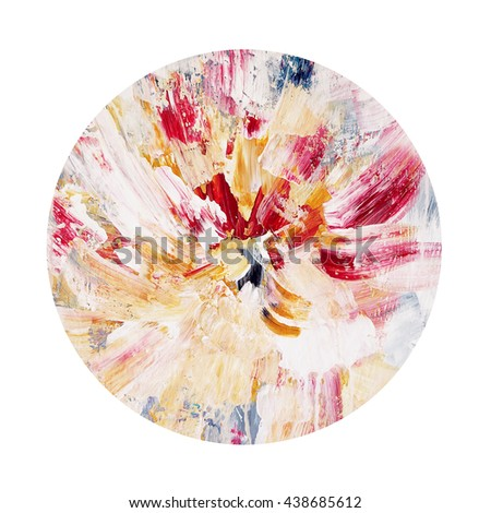 Beautiful floral circle design element,hand painted with acrylics - stock photo