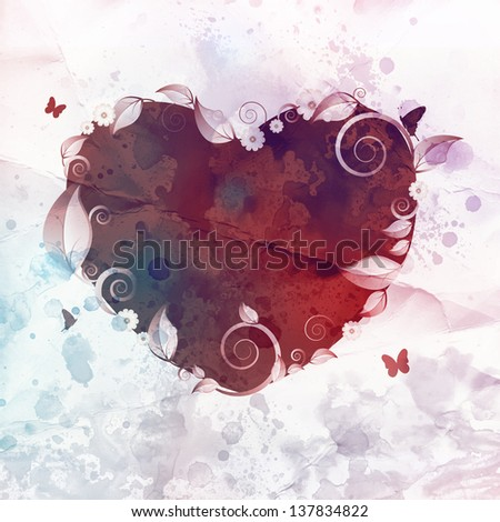 Beautiful floral love heart background - stock photo