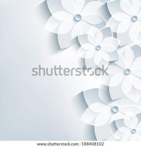 Beautiful floral trendy abstract background with 3d flower sakura. Stylish modern gray background. Greeting or invitation card for wedding, birthday and life events. Raster version - stock photo