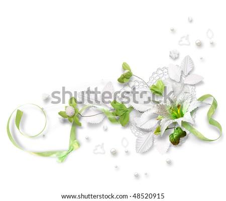Beautiful flower composition, wedding buttonhole - stock photo