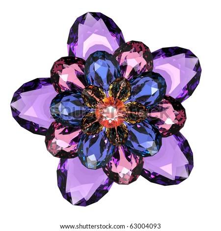 beautiful flower gem (isolated) - stock photo