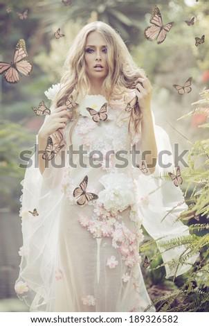 Beautiful flower nymph - stock photo