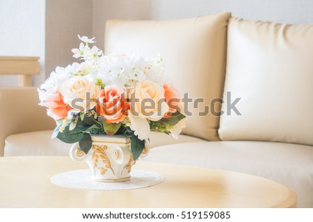 Beautiful Flower Vase On Table Decoration Stock Photo Royalty Free