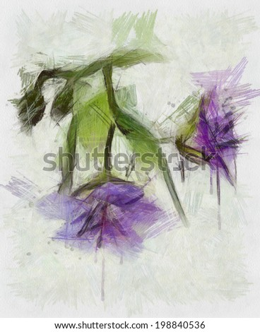 Beautiful flower, Watercolor painting - stock photo