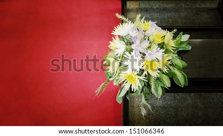 Beautiful flower wedding decoration in a church,Vintage - stock photo