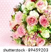 beautiful flowers bouquet of pink roses - stock photo