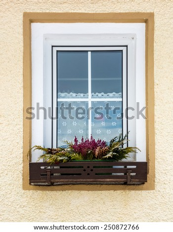 Beautiful flowers growing under window in traditional Austrian house - stock photo