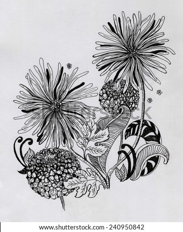 Beautiful flowers hand-drawn colorful and ink graphic illustration. Gerbera flower and garlic flower on gray paper - stock photo