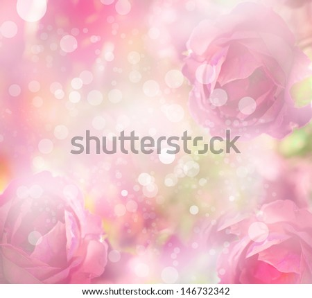 beautiful flowers made with color filters/romantic pink flowers background - stock photo