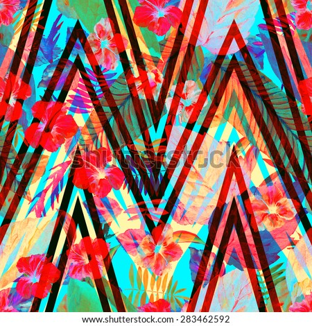 Beautiful flowers pattern. Colorful floral ornament on a zig zag stripes. Perfect geometric floral background on a blue. Palm leaves, banana leaves, Red Hibiscus. Stylish retro - stock photo