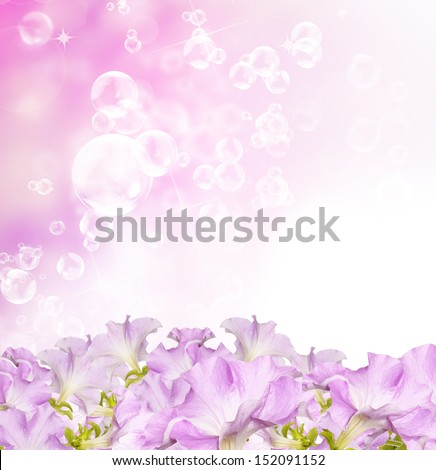 Beautiful flowers spring garden background witch soap bubbles - stock photo