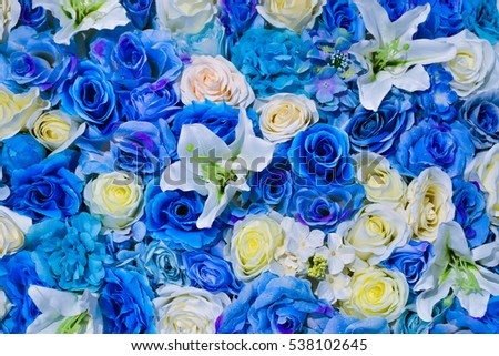 Beautiful Flowers Wall Background With Blue And White Artificial Roses