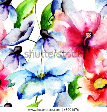 Beautiful flowers, Watercolor painting, seamless pattern