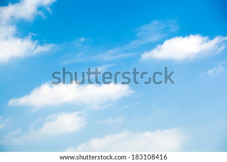 Beautiful, fluffy, white clouds and blue sky