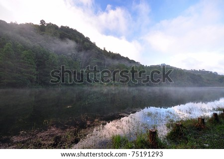 Beautiful Foggy Morning in Pang-Aung, Thailand - stock photo
