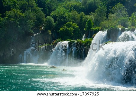 Beautiful forest waterfall - stock photo