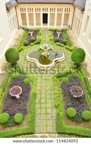 Beautiful formal garden - stock photo