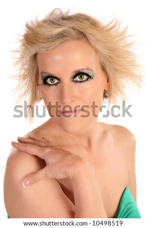 Beautiful forty year old woman close up over white. - stock photo