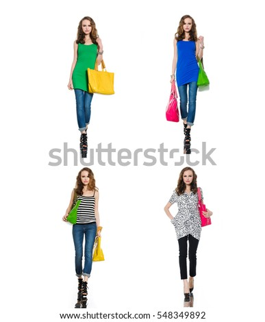 Beautiful four woman wearing shirt clothes, handbag ,jeans posing on white background