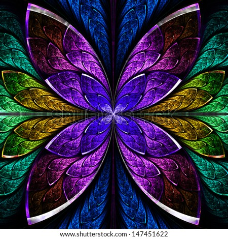 Beautiful fractal flower in blue, green and purple. Computer generated graphics. - stock photo