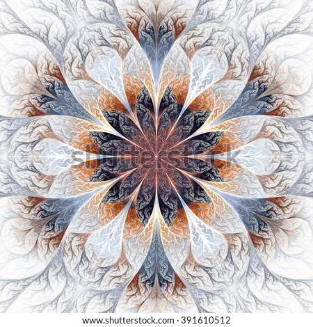 Beautiful fractal flower in gray, brown and blue. Computer generated graphics. - stock photo