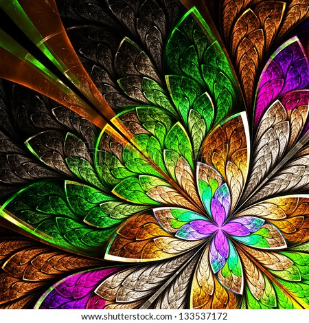 Beautiful fractal flower in yellow, green and purple. Computer generated graphics. - stock photo