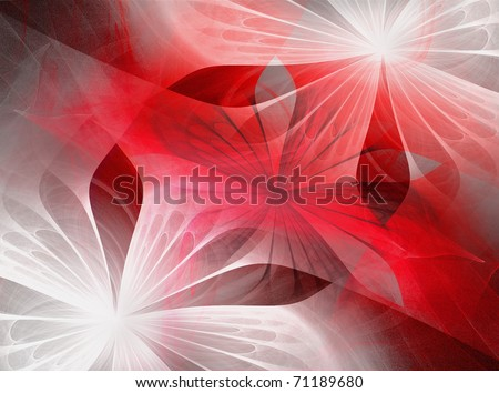Beautiful fractal flowers red, black and white - stock photo