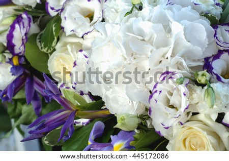 Beautiful fresh floral blue iris, lush leaves, white hydrangea, delicate cream roses with bright background. Summer wedding flowers macro. Copy space, text here - stock photo