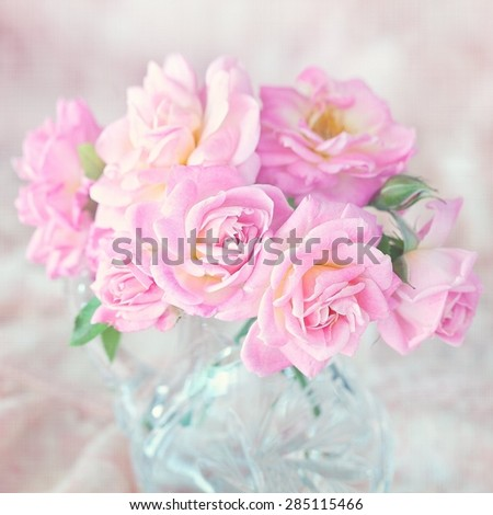Beautiful fresh pink roses  on a light background. - stock photo