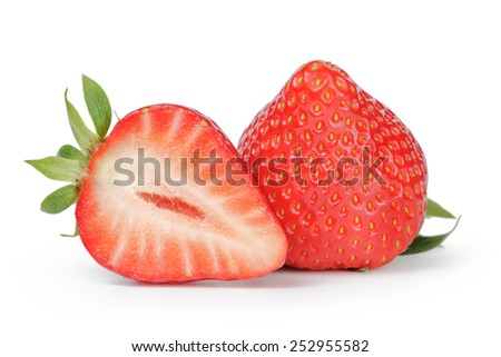 Beautiful fresh strawberries digitally cleaned isolated on white - stock photo