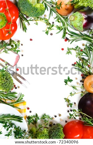 Beautiful fresh vegetable frame. Healthy food consept. - stock photo