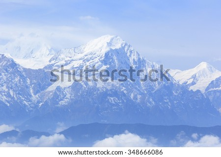 beautiful frozen mountain summits landscape - stock photo