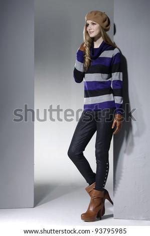 Beautiful full body young fashion model posing - stock photo