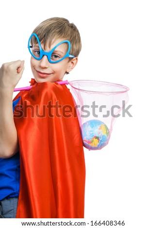 Beautiful funny boy dressed as superhero saving the Earth - stock photo