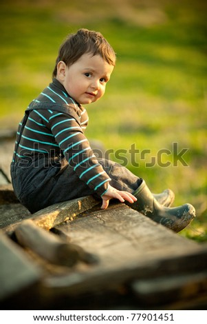 beautiful funny boy sitting on cart - stock photo