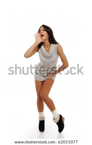 Beautiful funny winter woman with slim body screaming. isolated on white background - stock photo
