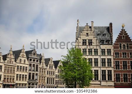 Beautiful gabled architecture of Antwerp, Belgium - stock photo