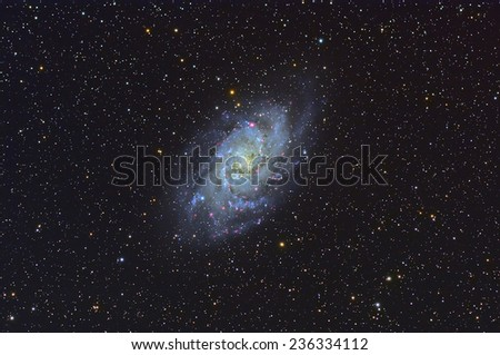 Beautiful Galaxy and Deep sky Object ,M33,Triangulum Galaxy in the constellation of Triangulum - stock photo