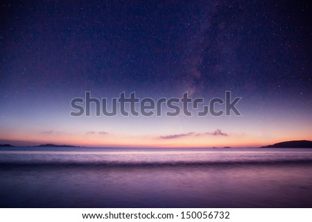 beautiful galaxy  over the sea - stock photo