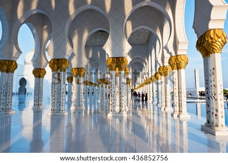 Beautiful gallery of famous Sheikh Zayed White Mosque in Abu Dhabi, UAE - stock photo